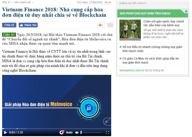 Báo điện tử Dân trí nhấn mạnh MISA là đơn vị cung cấp hóa đơn điện tử duy nhất chia sẻ về Blockchain tại hội thảo Vietnam Finance 2018