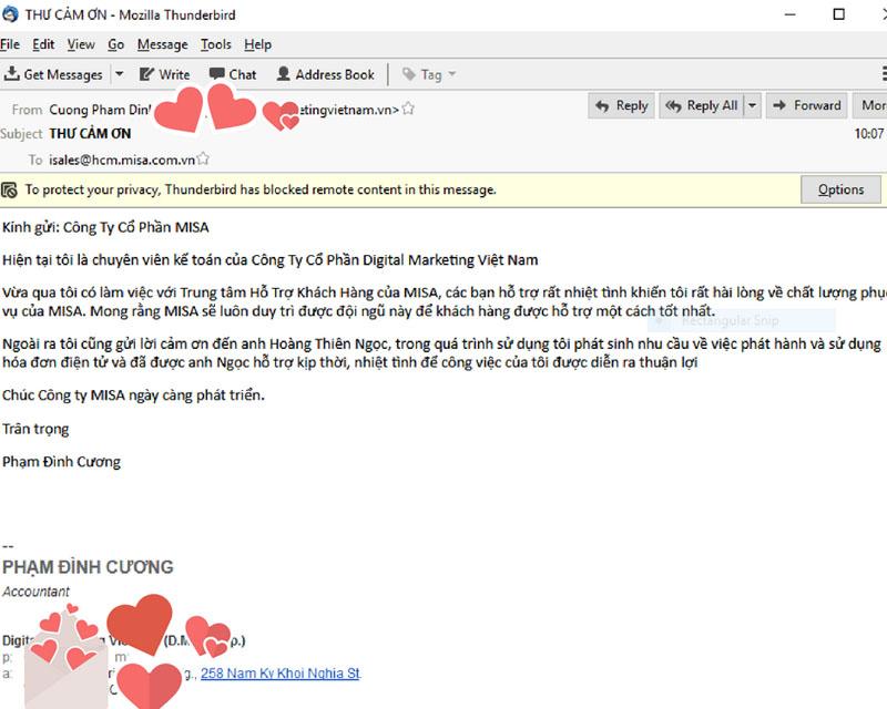 Những dòng thư đầy tình cảm của khách hàng dành riêng cho Thiên Ngọc và ngôi nhà MISA meInvoice
