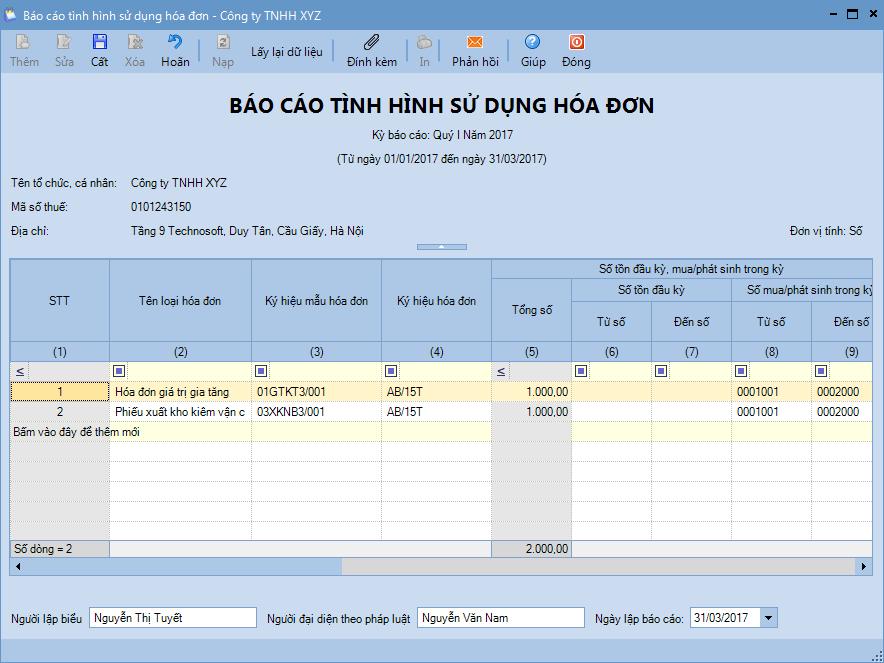 Báo cáo tình hình sử dụng hóa đơn