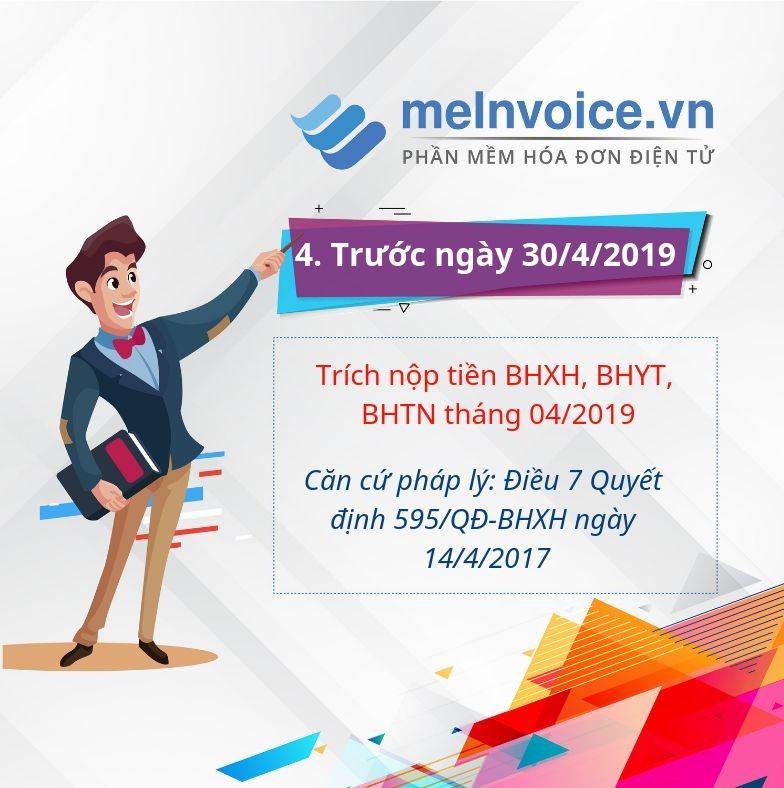 Trích nộp tiền BHXH, BHYT, BHTN tháng 04/2019