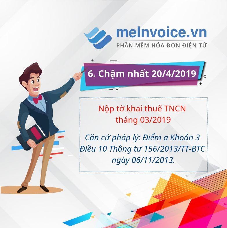 Nộp tờ khai thuế TNCN tháng 03/2019