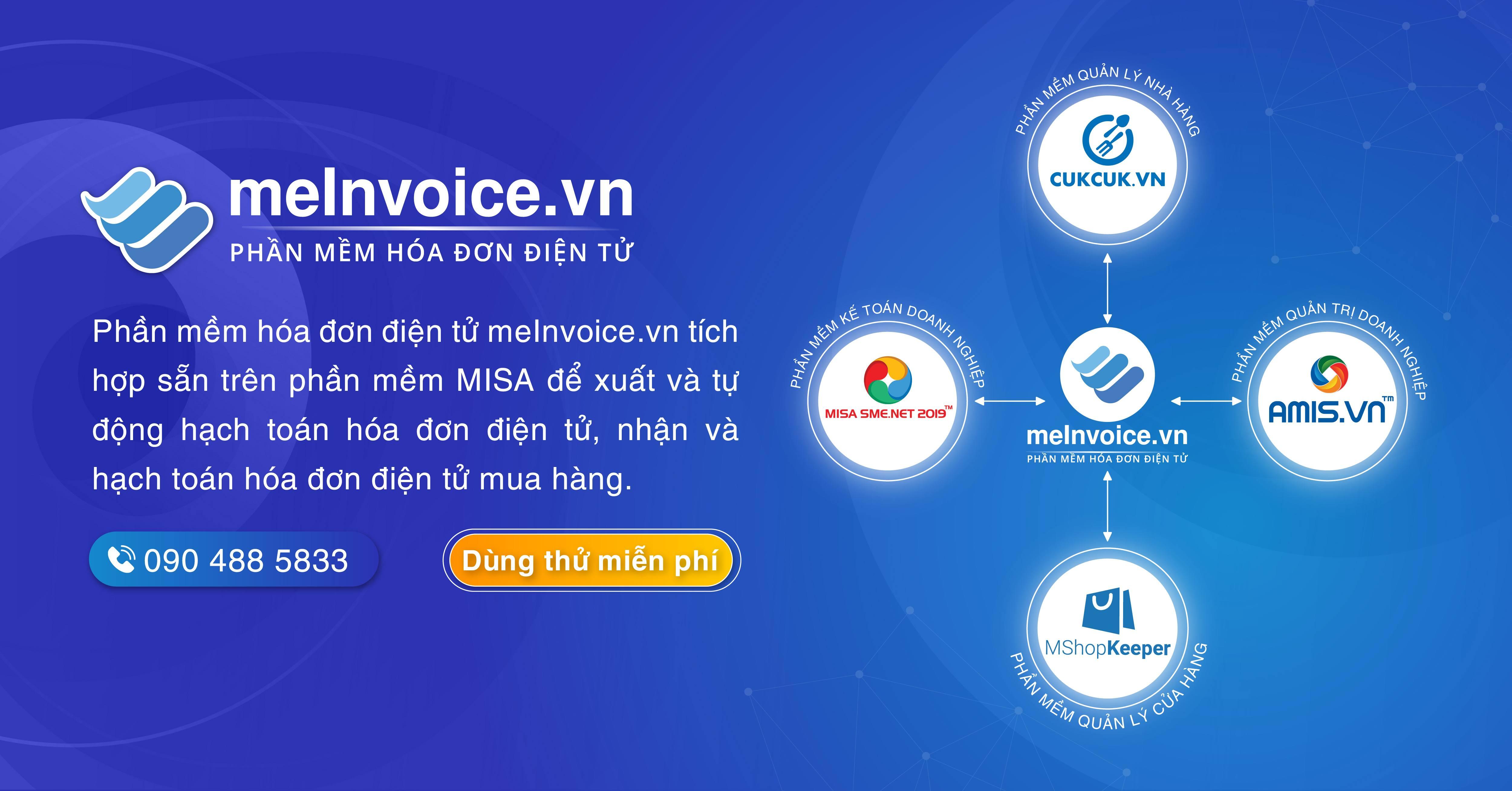 Phần mềm hóa đơn điện tử MISA meInvoice được tích hợp sẵn trên phần mềm MISA