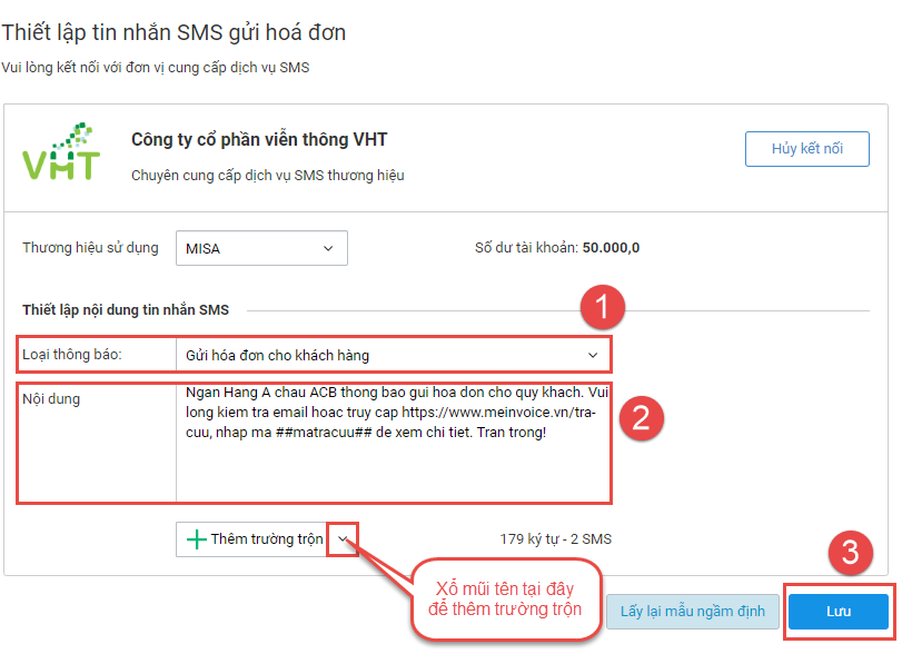 Thiết lập nội dung SMS