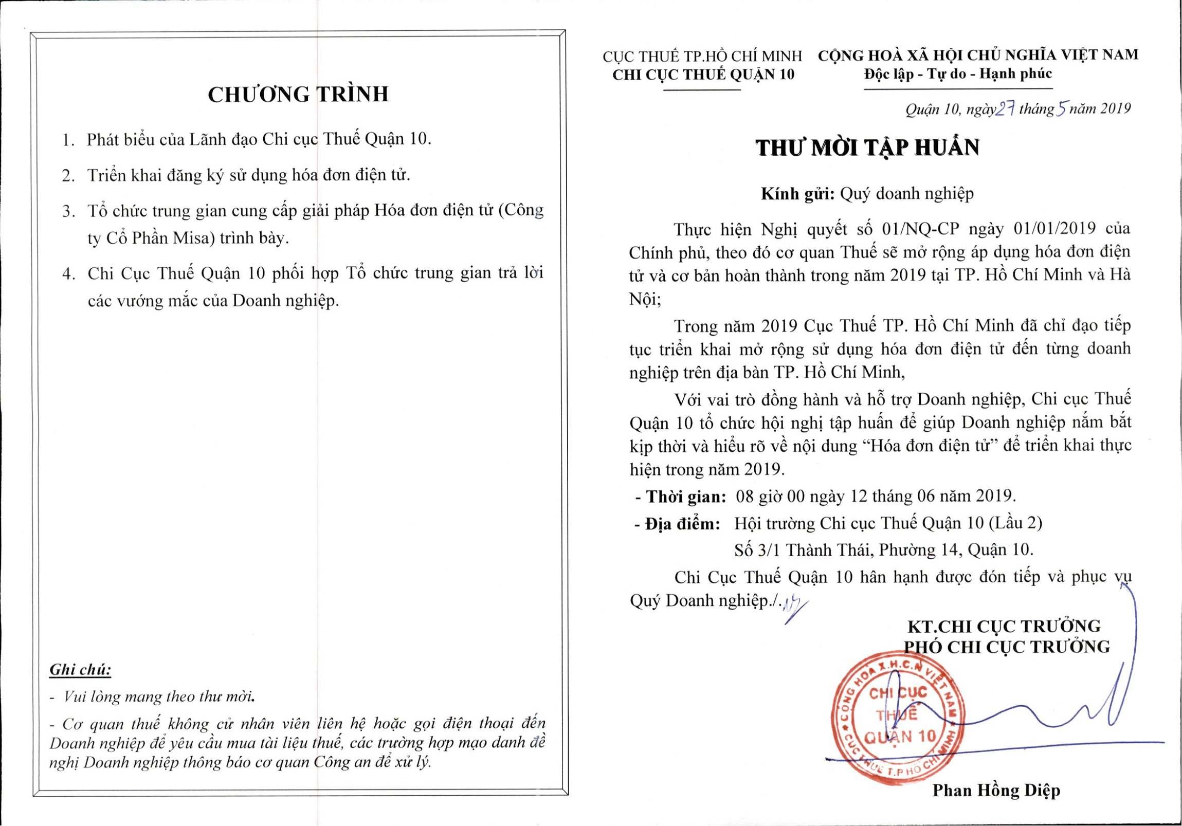 MISA đồng hành cùng Chi Cục Thuế Quận 10, TP Hồ Chí Minh