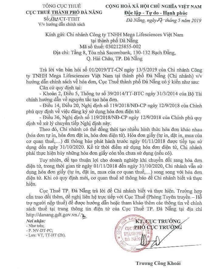 công văn số 1802/CT-TTHT của cục thuế Đà Nẵng
