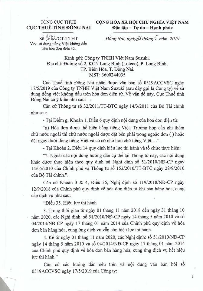 Cục thuế Đồng Nai giải đáp về việc sử tiếng Việt không dấu trên hóa đơn điện tử