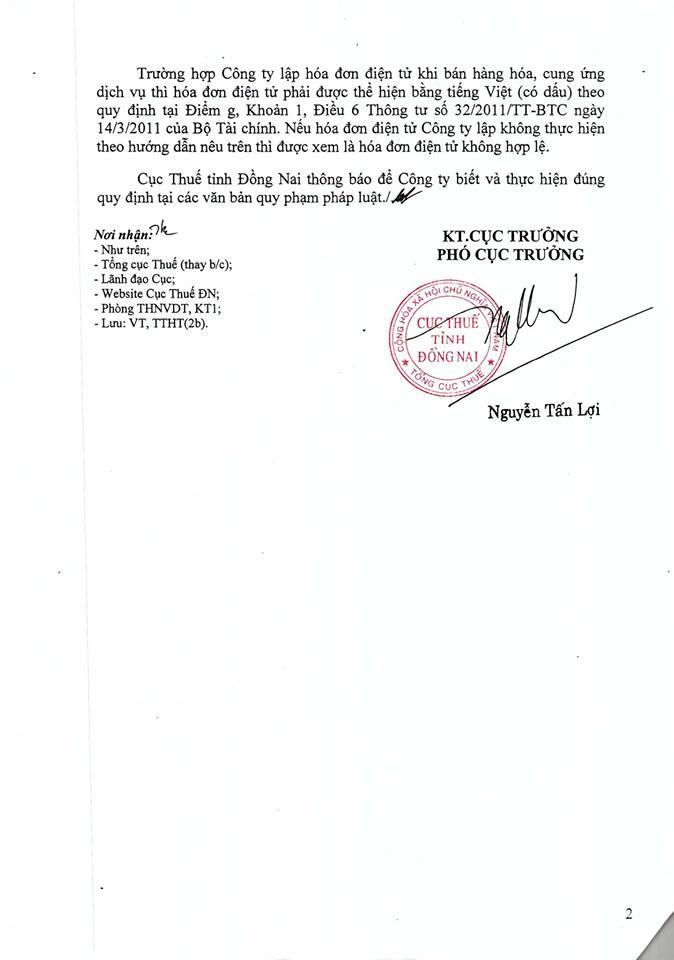 Cục thuế Đồng Nai hướng dẫn sử tiếng Việt không dấu trên hóa đơn điện tử