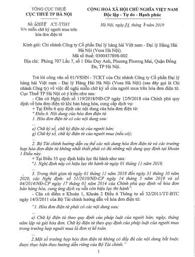 Công văn số 60008/CT-TT ngày 31/07/2019 của Cục thuế HN