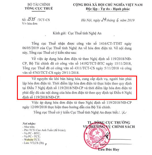 Công văn số 2535/TCT-CS của Tổng cục thuế