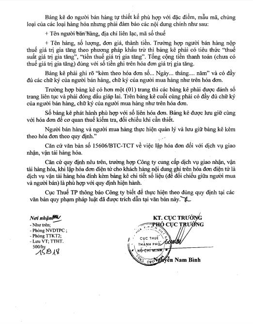 Hướng dẫn của Cục thuế Hồ Chí Minh về việc xuất hóa đơn điện tử kèm bảng kê