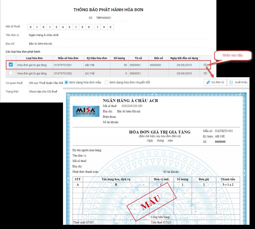 lập thông báo phát hành hóa đơn điện tử trên MISA meInvoice