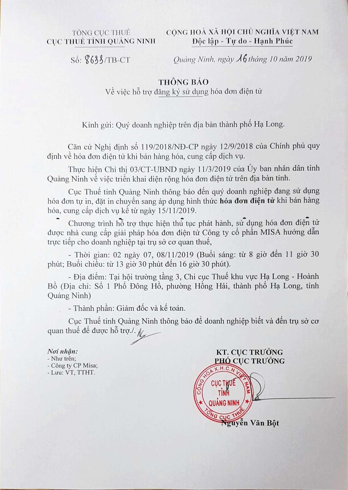 hỗ trợ chuyển đổi hóa đơn điện tử tỉnh Quảng Ninh