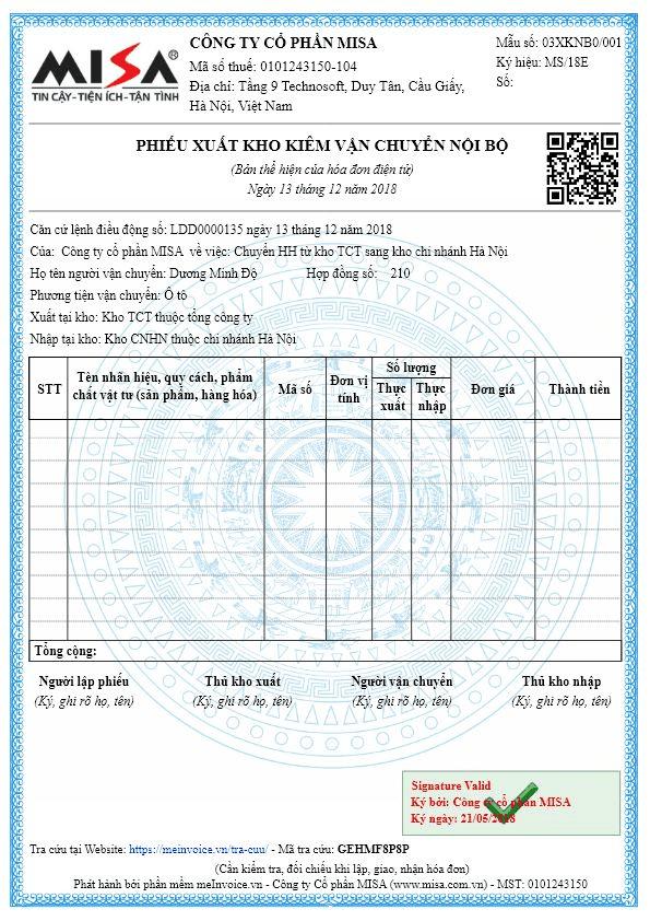 mẫu hóa đơn điện tử phiếu xuất kho
