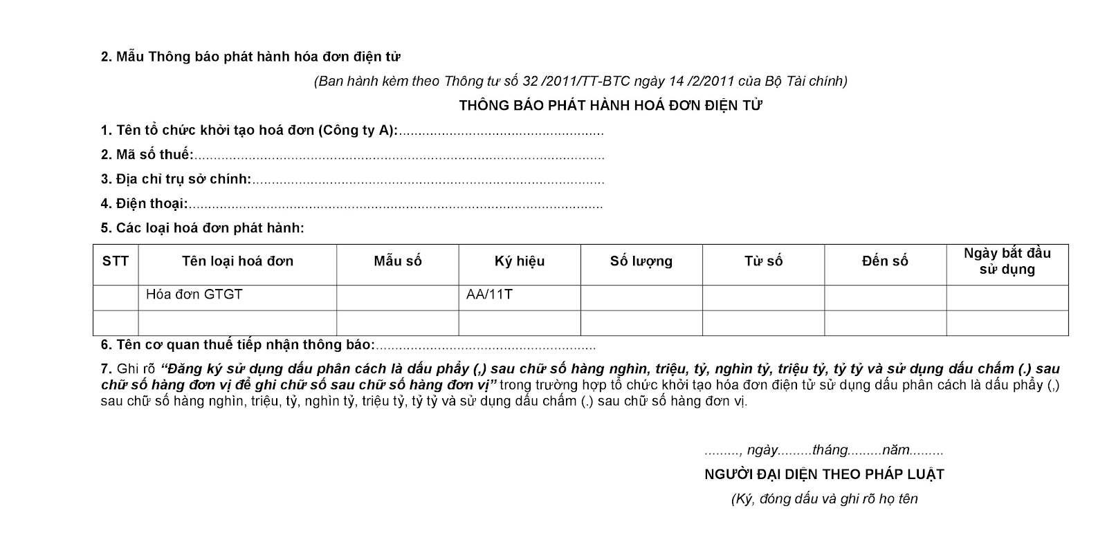 mau thong bao phat hanh hoa don dien tu